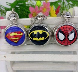 Wholesale New Superman Man Steel - 10Pcs Lot Pocket Watches Superman spider-man Iron Man fashion design Mix Colors Necklace Jewelry Watches 2015 May Style
