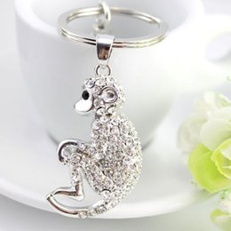 Wholesale Casual Silver Rings - Cute monkey Rhinestone Gifts Jewelry keychain women key holder chain ring car chaveiros llaveros bag pendant Charm animal keychain car key