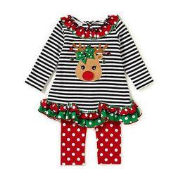 Wholesale Girl Santa Suit - Baby Christmas stripe suits Kids Santa Claus Christmas deer ruffle Top+pants 2pcs sets Xmas children Clothing Sets 2 styles B11