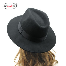 Wholesale Khaki Fedora Hat - Wholesale-2015 Fedora Hat For Women and Men Cappelli Woman Hat Winter Cap Women ancient Harajuku wide brimmed Sombrero