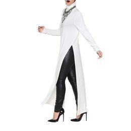 Wholesale Turtleneck Tee Shirts - Wholesale-2016 New Winter High Side Split Women Dress Long Sleeve Maxi Dresses Sexy Long Shirt Dress Party Turtleneck Tee Dresses Vestidos