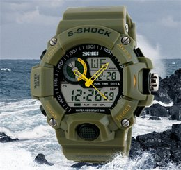 Wholesale Glass Top Display - TOP SKMEI SK1029 men's GMT dual display watch, analog digital relogio waterproof swim wristwatch, led military watch, gift watch for men