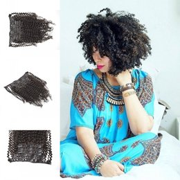 Wholesale Curly Kinky Hair Beautiful - Beautiful afro kinky curly virgin Cambodian hair clips Ins 7pcs set black clip in hair extensions real human hair 120g set G-EASY
