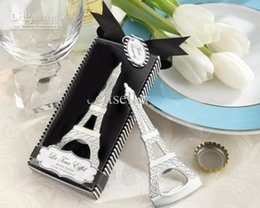 Wholesale Eiffel Tower Wedding Box - Romantic Wedding Souvenirs Paris Eiffel Tower Bottle Opener Novelty Wedding Party Favor gifts with retail package box