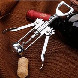 Wholesale red wine bar - Stainless Steel Wine Bottle Opener Handle Pressure Corkscrew Red Wine Opener Kitchen Accessory Bar Tool Wing Corkscrew Opener WX9-117