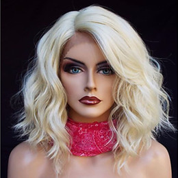 Wholesale Lace Front Wavy Blonde Wigs - Heat Resistant 613# Blonde Short Bob Curly Wavy Synthetic Hair Wigs Natural Hairline Gluelese Synthetic Lace Front Wigs for black women