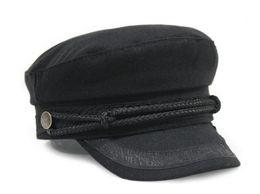 Wholesale Sun Visor Hat White - Fashion hat Cotton Military Hat Wool Navy Captain Cap Flat Top Sun Visors Black Grey Red Brown White For Men Women