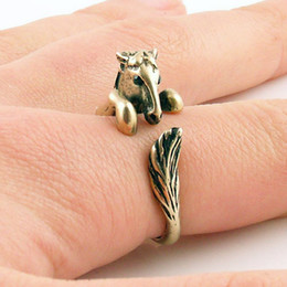 Wholesale Cake Silver - Wholesale-Hot Cake ONE PIECE Statement Bronco Horse Animal Wrap ring - Bronze Silver cute ring Fashion rings jewelry for women 2015