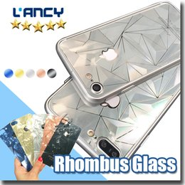 Wholesale Rhombus Glass - 3D Diamond rose gold Mirror Tempered Glass full Screen Protector rhombus electroplating sticker film for iphone 8