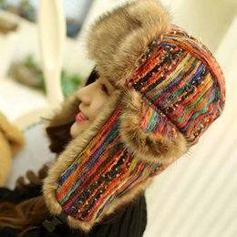 Wholesale Fur Ear Flap Hats - 1 color Trapper Hats Ushanka Russian Hat Fur Winter Hats sports snow outdoor aviator ear flaps cap for women Bomber Hats001 Rainbow