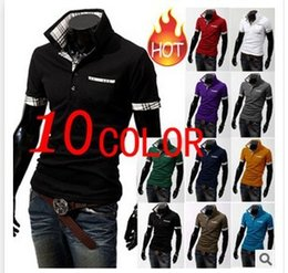 Wholesale Short Sleeve Check - Free Shipping 2016 New Casual Men's Stylish Slim Short Sleeve Shirts Fit Checked T-Shirts Tee High Quality 10 Colors 5 Plus Size