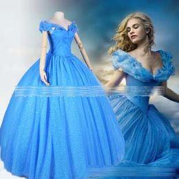 Wholesale Movies Cinderella - 2015 newest movie Cinderella blue princess party dress prom dress costume cosplay C001