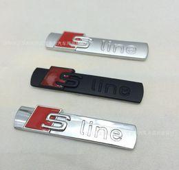 Wholesale Mirror Audi A6 - (30pieces lot ) Wholesale 3D black and matt Metal S line Car fender Emblem Badge Sticker for audi A4 A6