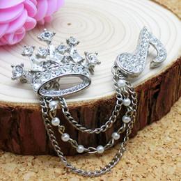 Wholesale Korean Women Fashion Suits - Korean fashion personality men and women suit decorations British crown diamond brooch pin high-end