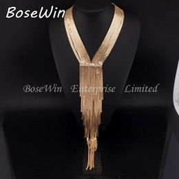 black friday dresses Promo Codes - 2015 Women Evening Dress Accessories Fashion Chain Collar Rhinestones Long Necklaces Statement Jewelry Black Friday Sale CE2689