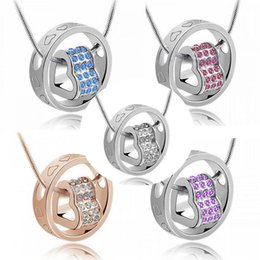 Wholesale Rhinestone Necklace Wholesale K - Pendant Necklaces Wholesale Double row drilling new accessories full drill fortunes love 18 k rose gold Austrian crystal necklace necklace