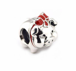 Wholesale Pig Logos - Authentic 925 Sterling Silver Bead Charm SILVER STAR Cartoon Mouse Magic Hat red bow pig hand Pendant Beads Fit LOGO Bracelet DIY Jewelry