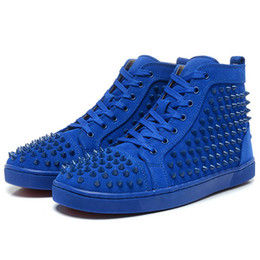 Wholesale Womens Studded Flats - New arrival mens womens matter leather with Spike Studded high top sneakers,designer causal flat sports shoes 36-46