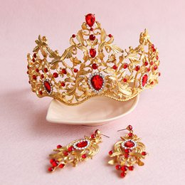 Wholesale Red Bridal Tiara Sets - Red Crystal Princess Tiara Bridal Hair Crown Earrings Set Vintage Gold Wedding Headpiece Baroque Hair Accessories