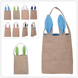 Wholesale Wholesale Christmas Gifts Baskets - Popular Cute Easter Bunny Ears Basket Bag Cotton And Linen Easter Gift Packing Easter Handbag For Child Festival Gift Bag High quality DHL