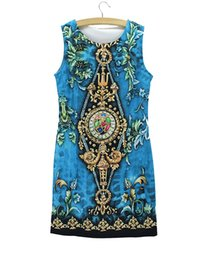 Wholesale Low Price Girl Dresses - Vintage Flower print women summer dress 2016 new fashion design Western style girls slim casual dresses wholesale low price mixed order