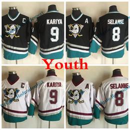 Jersey dei capretti poco costosi online-Youth Mighty Ducks Retro 8 Teemu Selanne 9 Paul Kariya Maglie da hockey Bambini Anaheim Ducks Vintage CCM Purple Stitched Jersey a buon mercato
