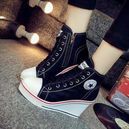 Al por mayor - Must Have Plus Size 35-42 Zapatos de lona para mujer Cuña Zapatos con aumento de altura Zip Lace up 8cm Altura Plataforma Casual zapatos mujer desde fabricantes