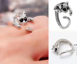 Occhio di gatto placcato argento online-1 pezzo fresco argento placcato Gattino del gatto anello con gioielli occhi di cristallo delle donne del regalo