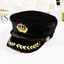 Wholesale Hat Cap Captain - Velvet Captain Hat Navy Sailor Badge Embroidered Octagonal Cap Party Cosplay Yachting Hats 3 colors 10pcs lot Free Shipping