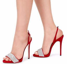 Wholesale sexy bling shoes - Sexy Summer Back Strap Bling sandals Rhinestone Studded Party Sandals Stiletto High Heels Simple Crystal Shoes for Woman