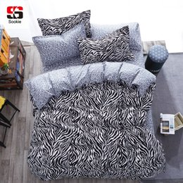 Wholesale Leopard Comforter Full - Sookie 3 4pcs King Size Geometric Bedding Sets Leopard Queen Size Duvet Cover Sets Pillowcases Bed Linen Black&White Bed Clothes