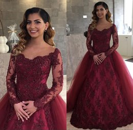 Wholesale Removable Tulle Skirt Black - Burgundy Illusion Lace Long Sleeves Evening Dresses 2018 with Removable Skirt Arabic Long Prom Party Gowns Vestidos De Fiesta