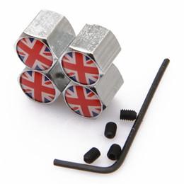 Distintivo britânico on-line-Lockable bandeira Britânica Anti-Theft Dust Cap tampas da válvula do Pneu Com logotipo Do Carro Emblemas Emblemas Bandeira britânica Com Caixa De Varejo SZYX-0021