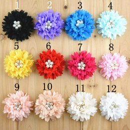 "Wholesale Wholesale Girls Clothing Accessories - Free Shipping 24pcs lot High Quality 3.15"" Chiffon Fabric flowers For Baby Girls Boutique Hair Accessories Clothing"