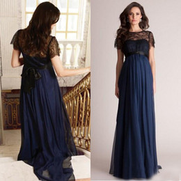 Wholesale Brown Pregnant - 2015 Empire Black and Navy Blue Evening Gown Long Formal Prom Party Dresses for Maternity Short Lace Sleeves Pregnant Celebrity Red Carpet