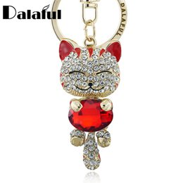Wholesale Lucky Cat Car - Lucky Smile Cat Crystal Rhinestone Keyrings Key Chains Holder Purse Bag For Car christmas Gift Keychains Jewelry llaveros K218