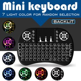 Wholesale Smart Tv Box Fly Mouse - 7 Color LED Backlit Fly Air Mouse Mini Wireless Keyboard Remote Control Touchpad Rii i8 For Smart Box TV 3D S905W T95Z MXQ T95R X96 Mini