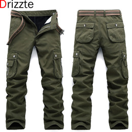 Wholesale Multi Pocket Trousers Jeans - Drizzte Winter Warm Fleece Men Thick Cargo Pants Multi Pockets Work Trousers Casual Mens Jeans Pant