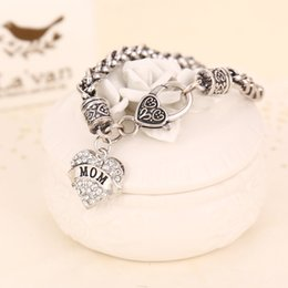 Wholesale Wholesale Sterling Silver Bangles - 2017 MOM SISTER MIMI NANA Family Member Fashion Heart Women Bracelet Top Quality Hot sterling silver jewelry Free shipping ZJ-0903327