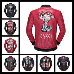 Wholesale Baseball Standards - The Latest Justin Bieber Motorcycle Harley PU Leather Embroidered Snake Pilot Men's Coat Kanye West Baseball Jacket