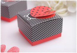 Wholesale Moon Candies - 2016 new wedding Ladybug shape candy box,Baby full moon party cute candy box Delicate folding candy box