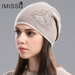 Wholesale Real Butterfly Acrylic - Women Winter Hats Knitted Real Wool Skullies Casual Cap Beanie With Butterfly Pattern Solid Gorros Bonnet Femme