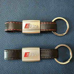 Wholesale Sline S Line Badge - 3D SLine Emblem Badge Sticker Black Red Line Leather for Audi 3 A4 A5 A6 A8 TT RS Q5 Q7 S Line Keychain Keyring Keyfob High quality