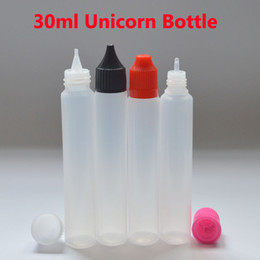 Wholesale Offset Style - Fast Shipping Unicorn Bottle Empty Bottle 30ml PE Top Cap Dropper Pen Style Unicron E-Liquid Dripper Bottle for Refilling Fedex Free
