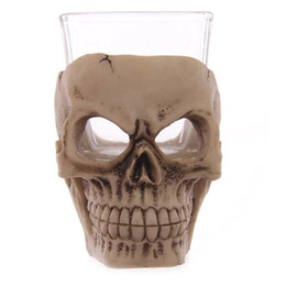 Wholesale Glass Cup Lens - 3D Skull Mug Creative Wine Glass Novelty Gift Cup For Bar Party Decor Supplies High Quality 15gf C