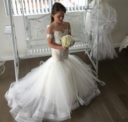 Wholesale Cheap Christmas Lights Free Shipping - 2018 Free Shipping Princess Cheap Lovely Mermaid Spagetti Strap Flower Girl Dresses Toddler Long Pretty Kids First Holy Communion Dress