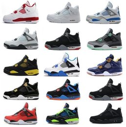 Wholesale military high boots - High Quality 4 mens women Basketball shoes Fire Red White Cement CAVS Military Blue Cement Grey Black Sneakers Athletics Boots