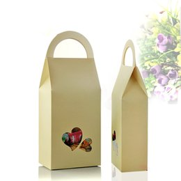 Wholesale Candies Apparel - Doypack Kraft Paper Giftware Wedding Candy Handle Bag With Heart Shape Window 11*23*5cm 20Pcs  Lot Tea Nut Stand Up Paper Box