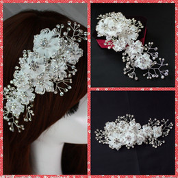 Wholesale Make Wedding Headpieces - 2015 Luxurious Wedding Bridal Hair Accesories Crystal Pearls Adorned Bridal Flowers Headpiece Clip White Headwear Tiaras Made In China