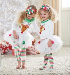 Wholesale Skirt Set Tight - 2014 Chirstmas Girls Clothes Suits X'mas Santa Deer Tshirts Skirt Leggings Sets Rainbow Tights Children's Pajamas